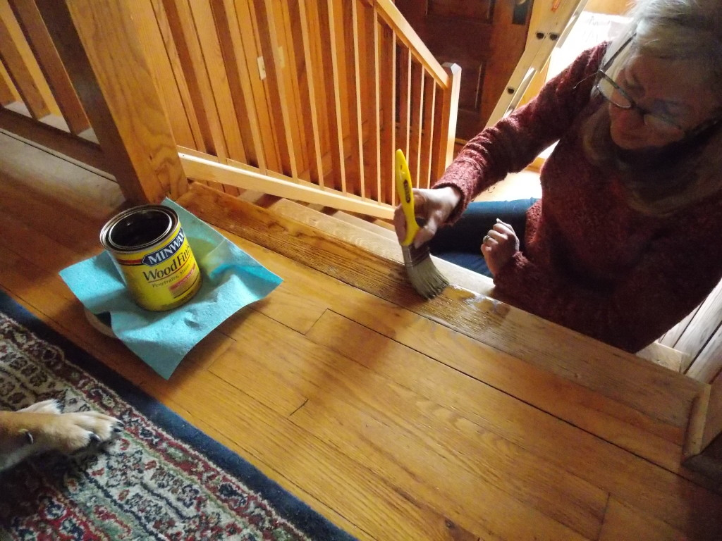 Wood by sanding the floors minwax floor finishes minwax floor finishes -  Originally Stained Slightly Darker Than The Floor To Make It Stand Out And Match The Other Steps So We Selected Minwax Golden Oak Wood Finish Stain