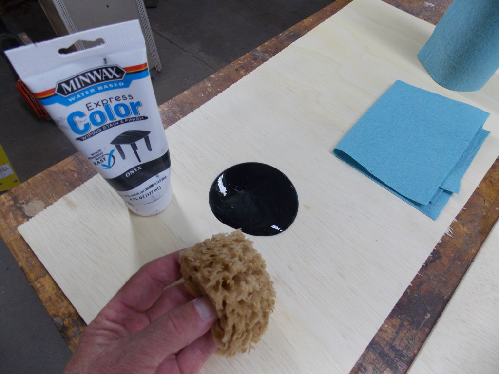 Minwax super fast drying polyurethane - While My Spray Adhesive Was Drying I Gathered My Tools A Sea Sponge Minwax Express Color Onyx Paper Towels And A Scrap Piece Of Plywood To Hold Them