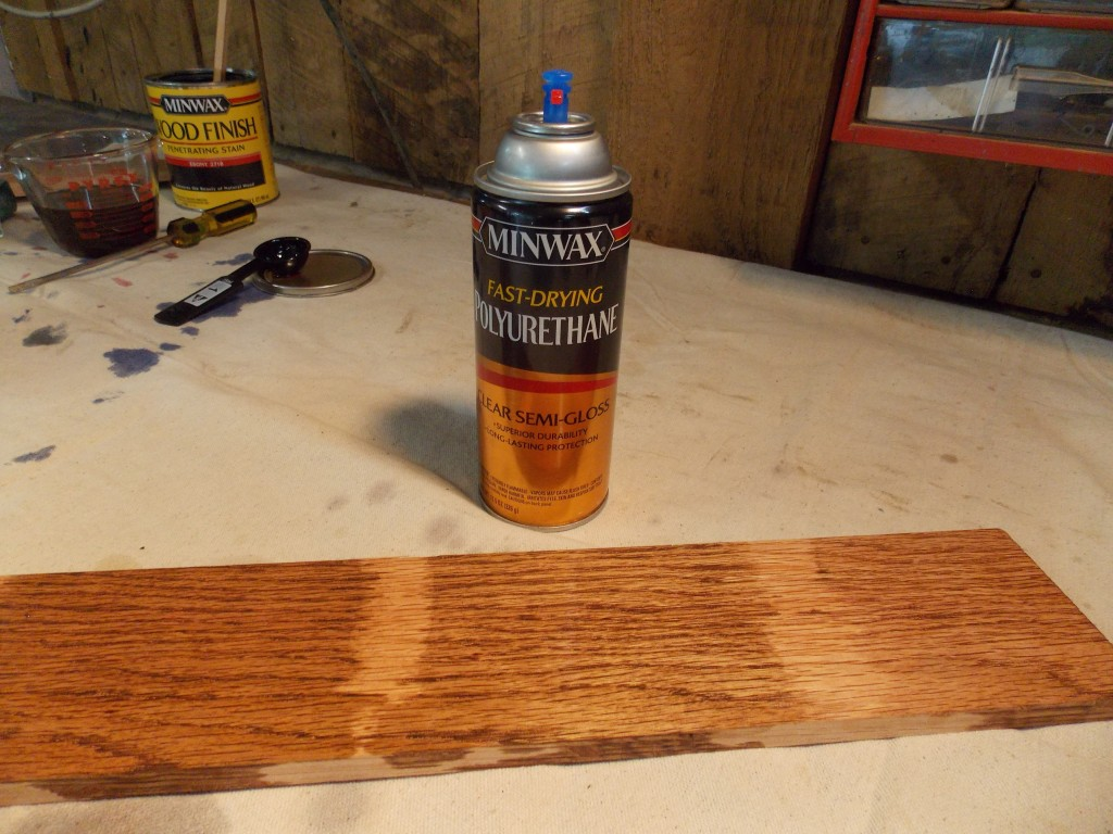 Minwax super fast drying polyurethane -  In My Testing Was To See What The Dried Stain Looked Like Under A Coat Of Finish For This I Used An Aerosol Can Of Minwax Fast Drying Polyurethane