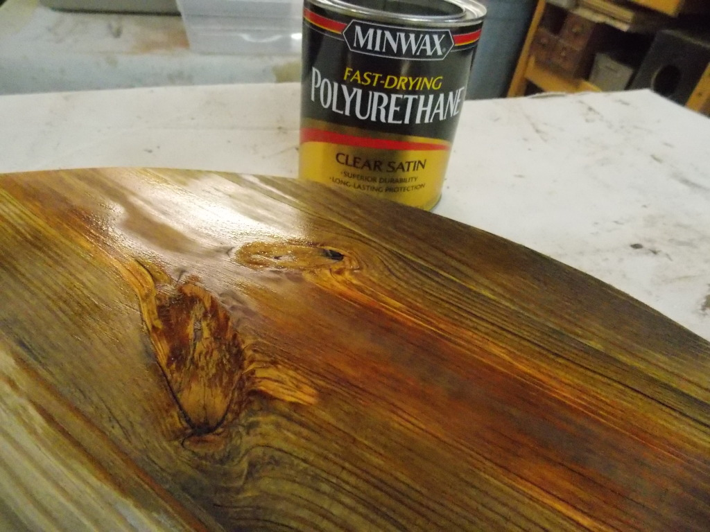 Minwax super fast drying polyurethane - After Gluing Together Some Old Boards And Cutting Out A Circle I Sanded It Lightly Then Brushed On Two Coats Of Minwax Fast Drying Polyurethane