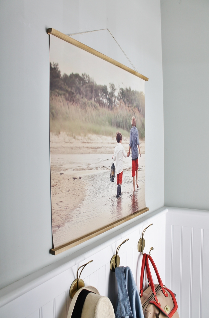 Easy DIY Frame With Large Photo-Mudroom Vignette
