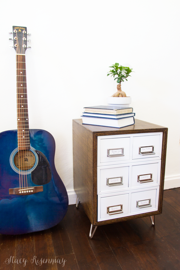 Card Catalogue Table with Guitar