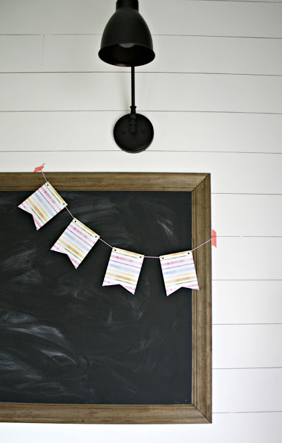 Finished chalkboard with banner hanging