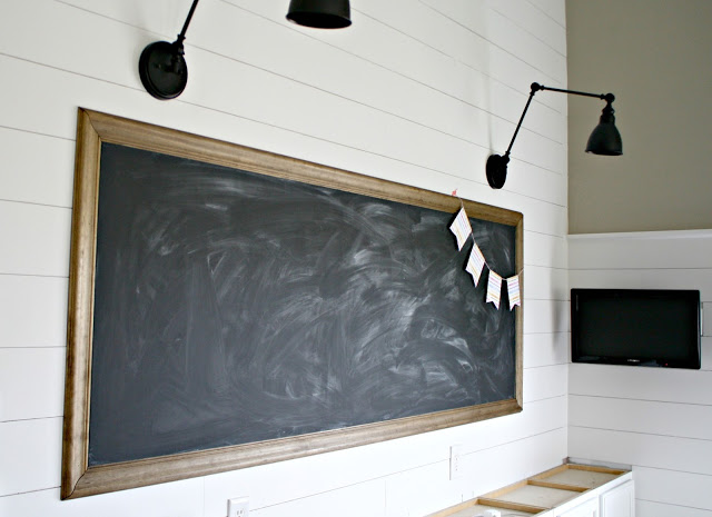 Chalkboard with sconces