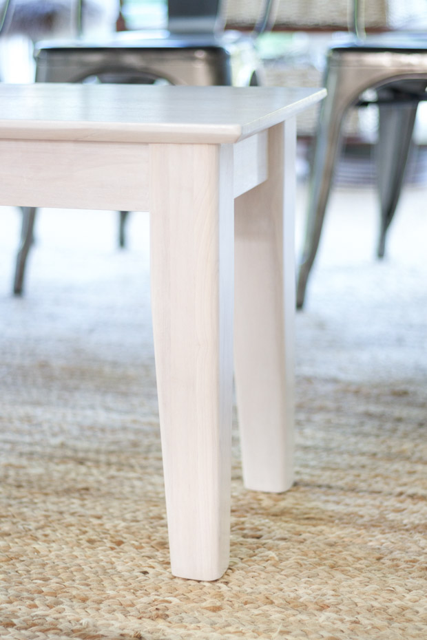 Close up of stains bench legs