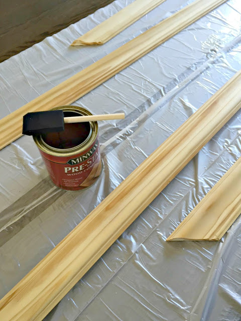 pre-staining the chalkboard trim