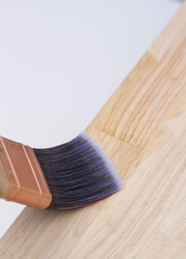 Conditioning the wood with Minwax Pre-Stain Wood Conditioner