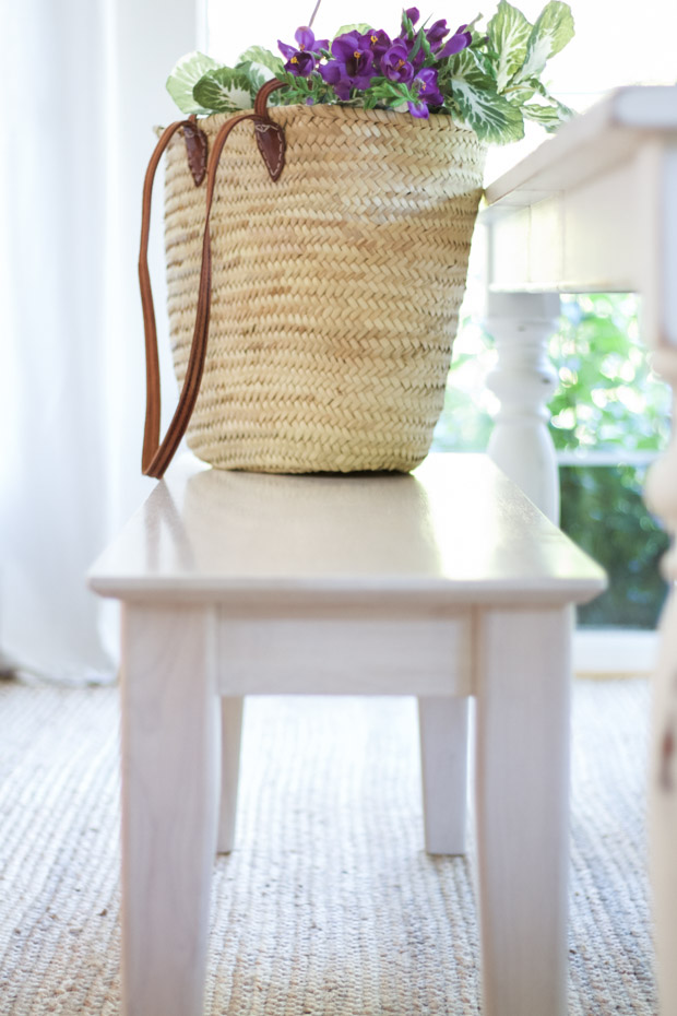 Close up of bench side view with bag