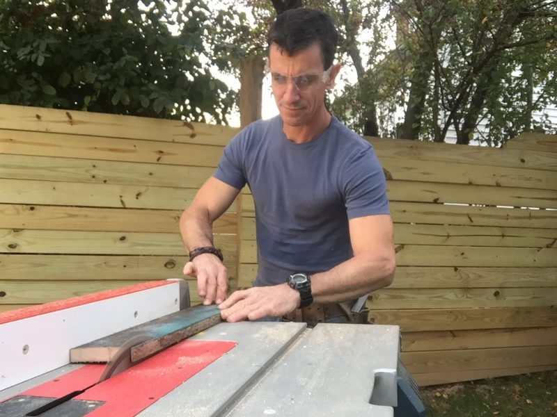 Cutting pallet edges on a table saw