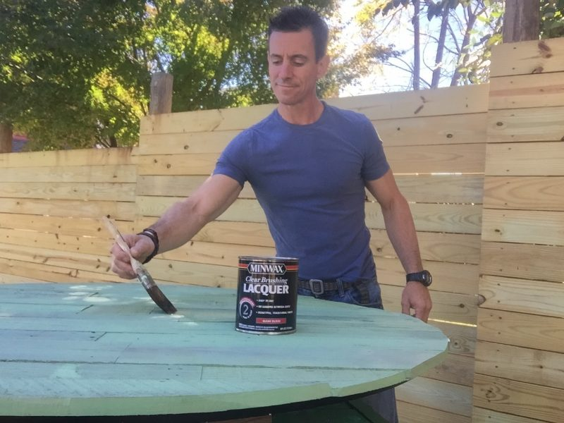 Brushing on Minwax lacquer