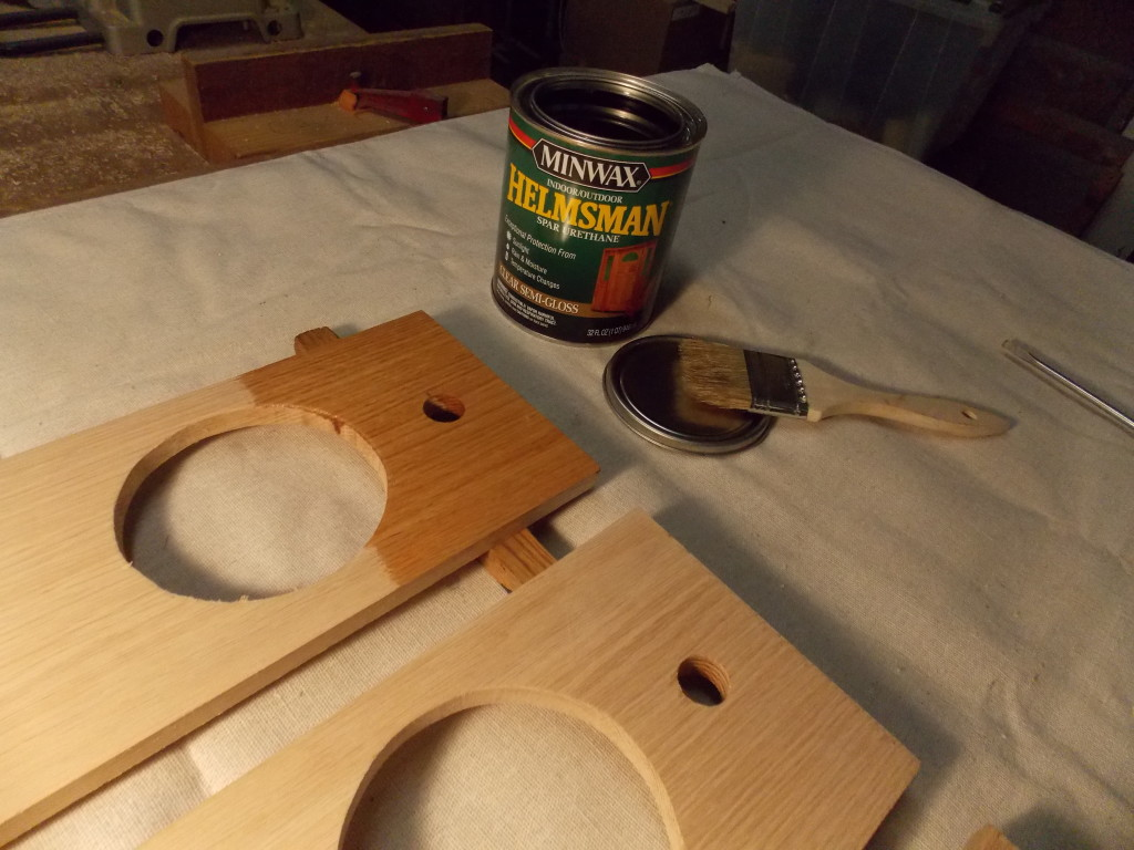 How to cut holes in wood - Since My Hanging Herb Garden Will Be Subject To Sunlight And Rain I Protected The Wood With Two Coats Of Minwax Helmsman Spar Urethane