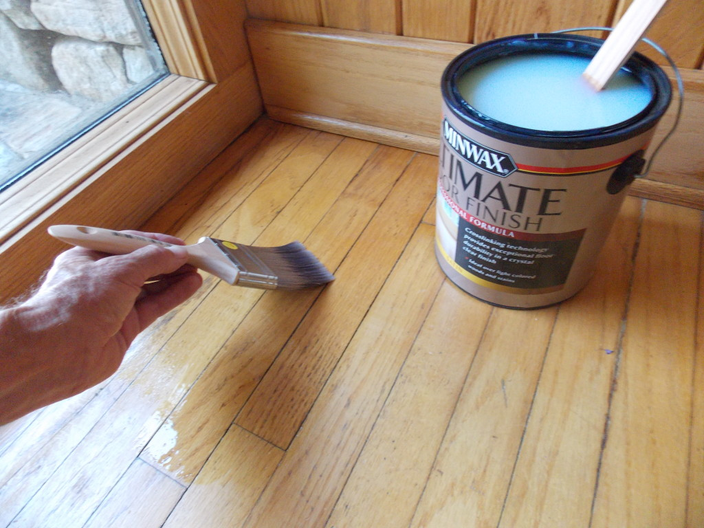 After A Light Sanding And Vacuuming Up The Dust, I Brushed On An Even Coat  Of This Strong, Clear, Water Based Finish. Had I Been Doing An Entire Room,  ...
