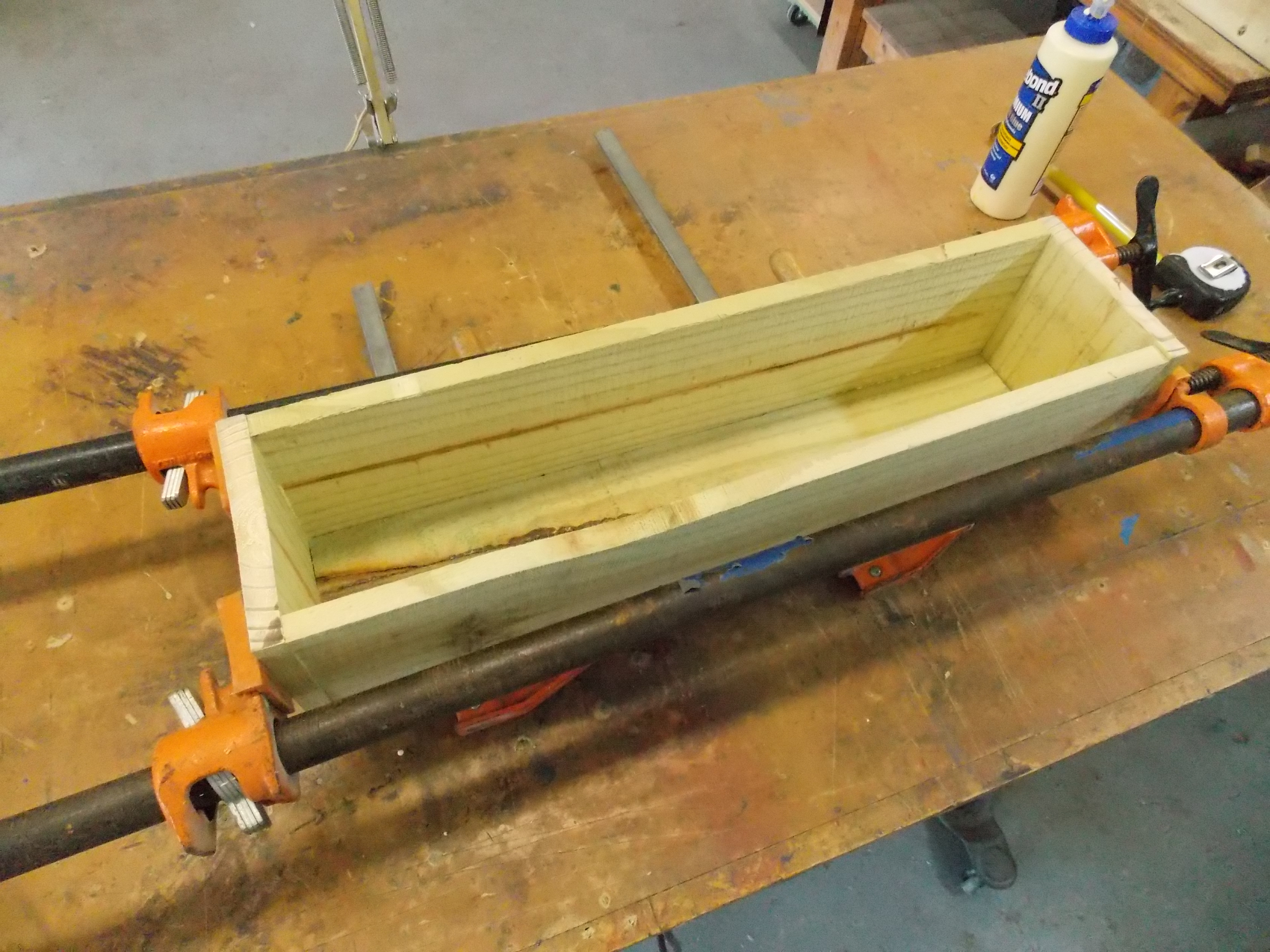 Clamping Planter Boards After Nailing and Gluing Together