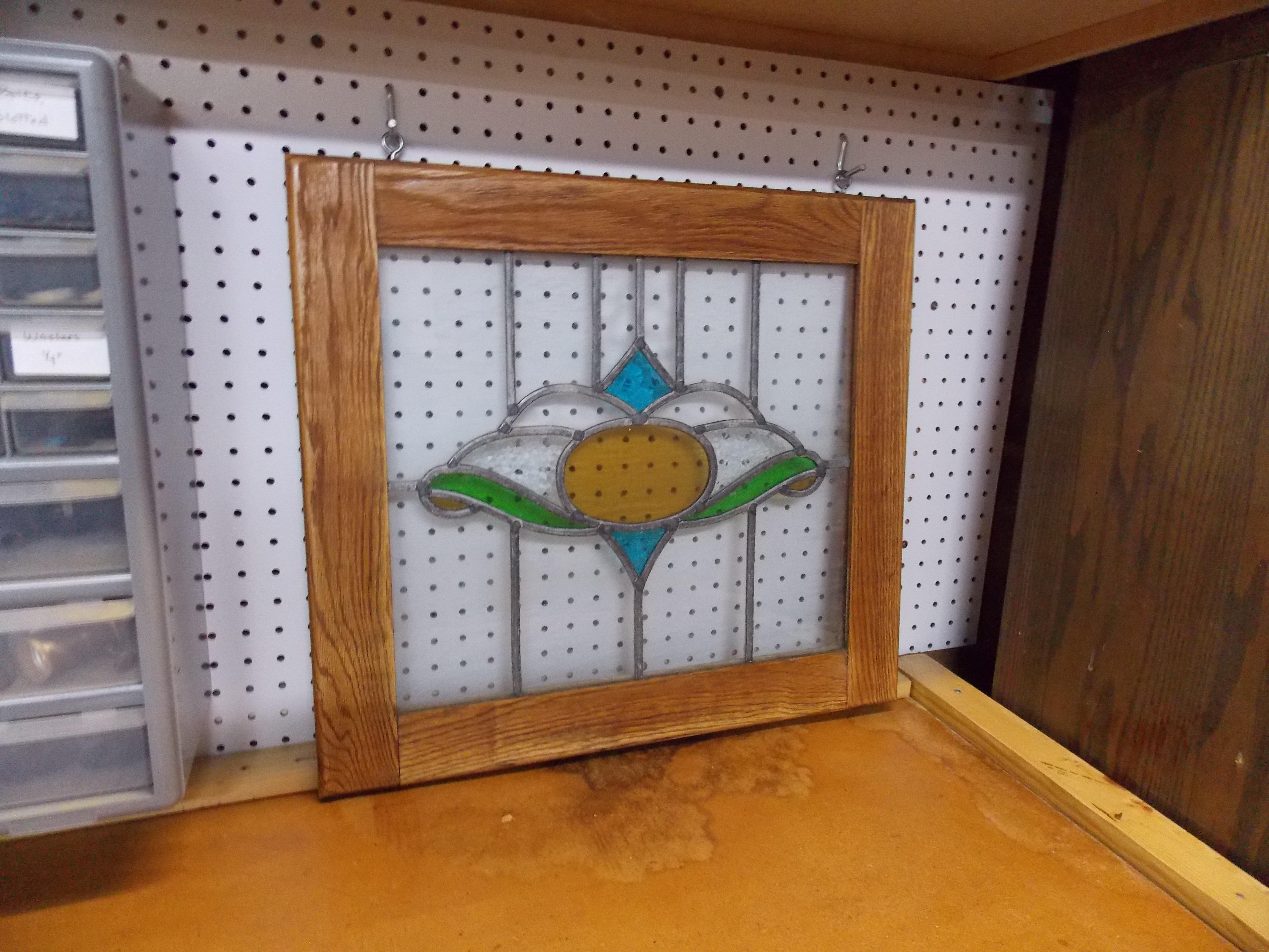 Oak-Framed Stained Glass Window in Wood Shop