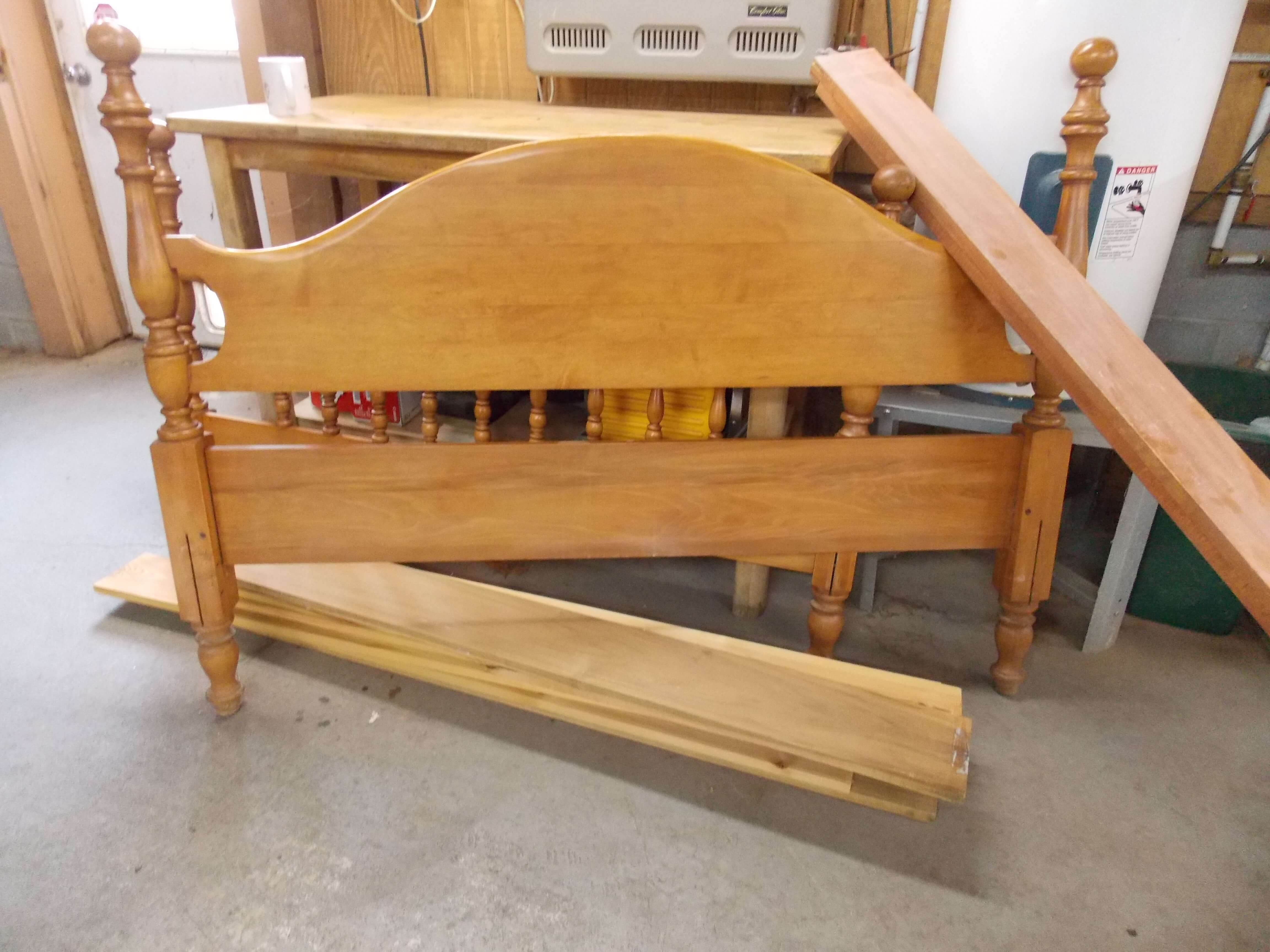 Antique family bed frame before refurb project