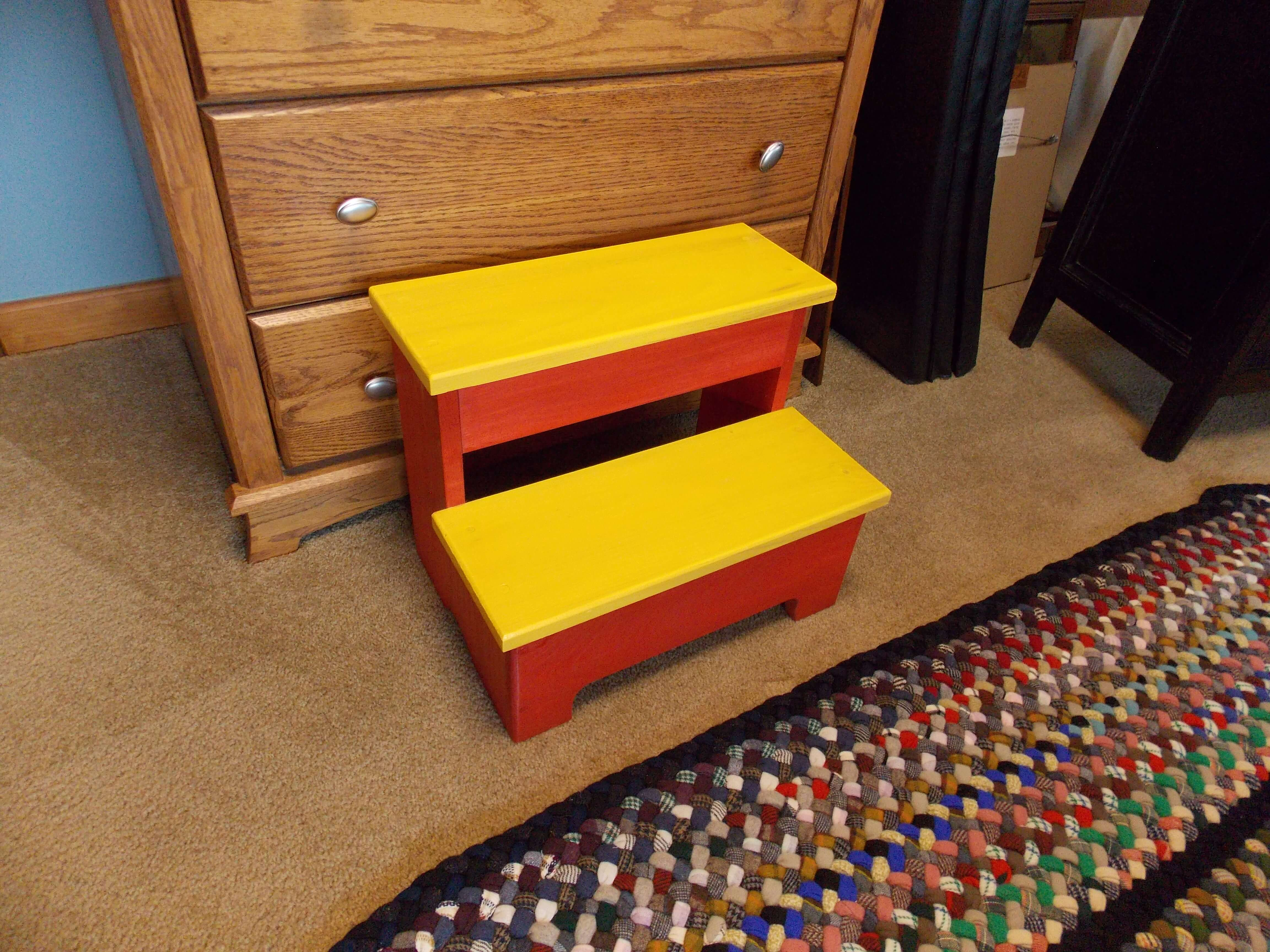 Completed Project Finished Colorful Step Stool