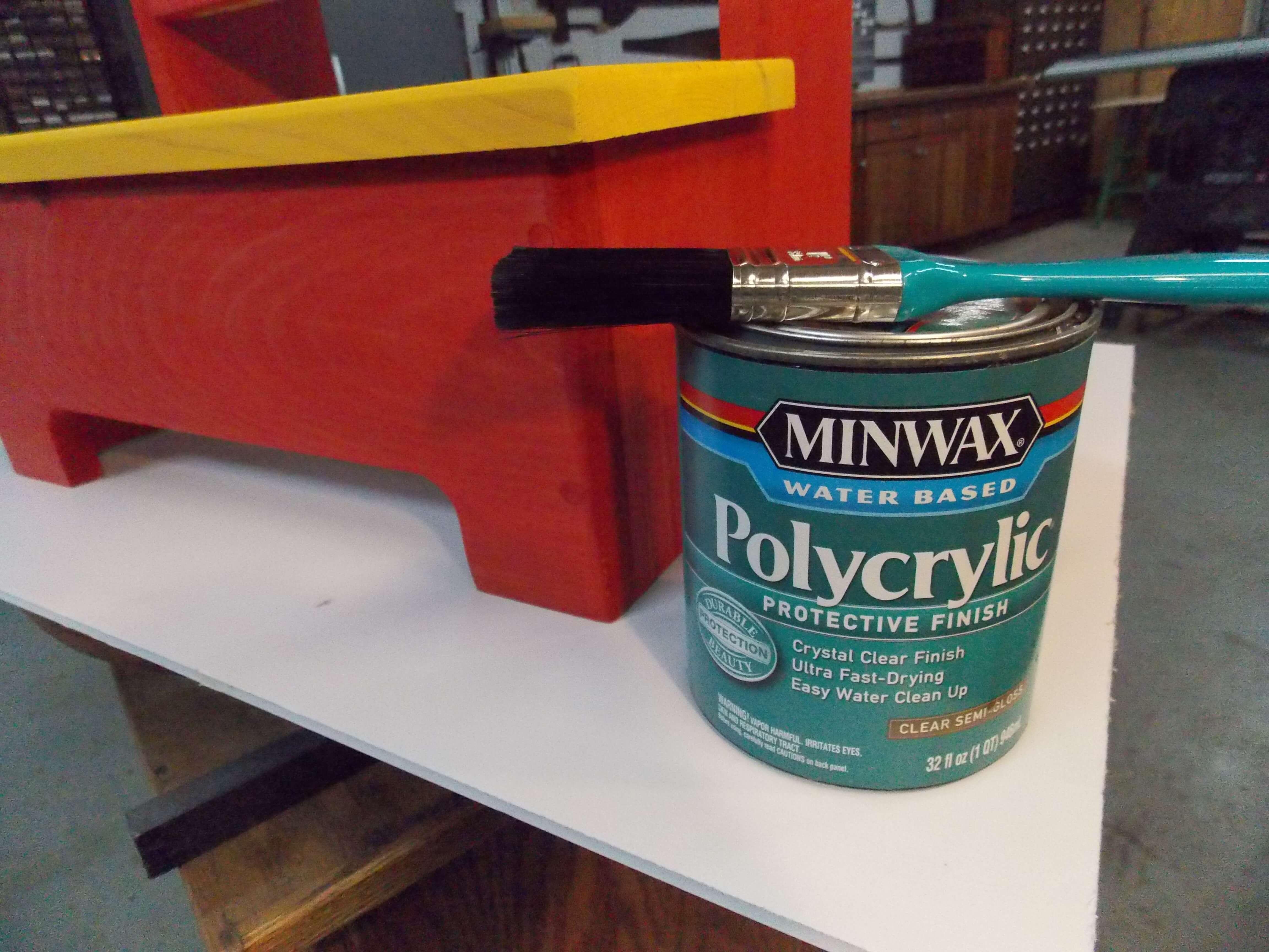 Minwax Polycrylic Protective Wood Finish Alongside Colorful Step Stool