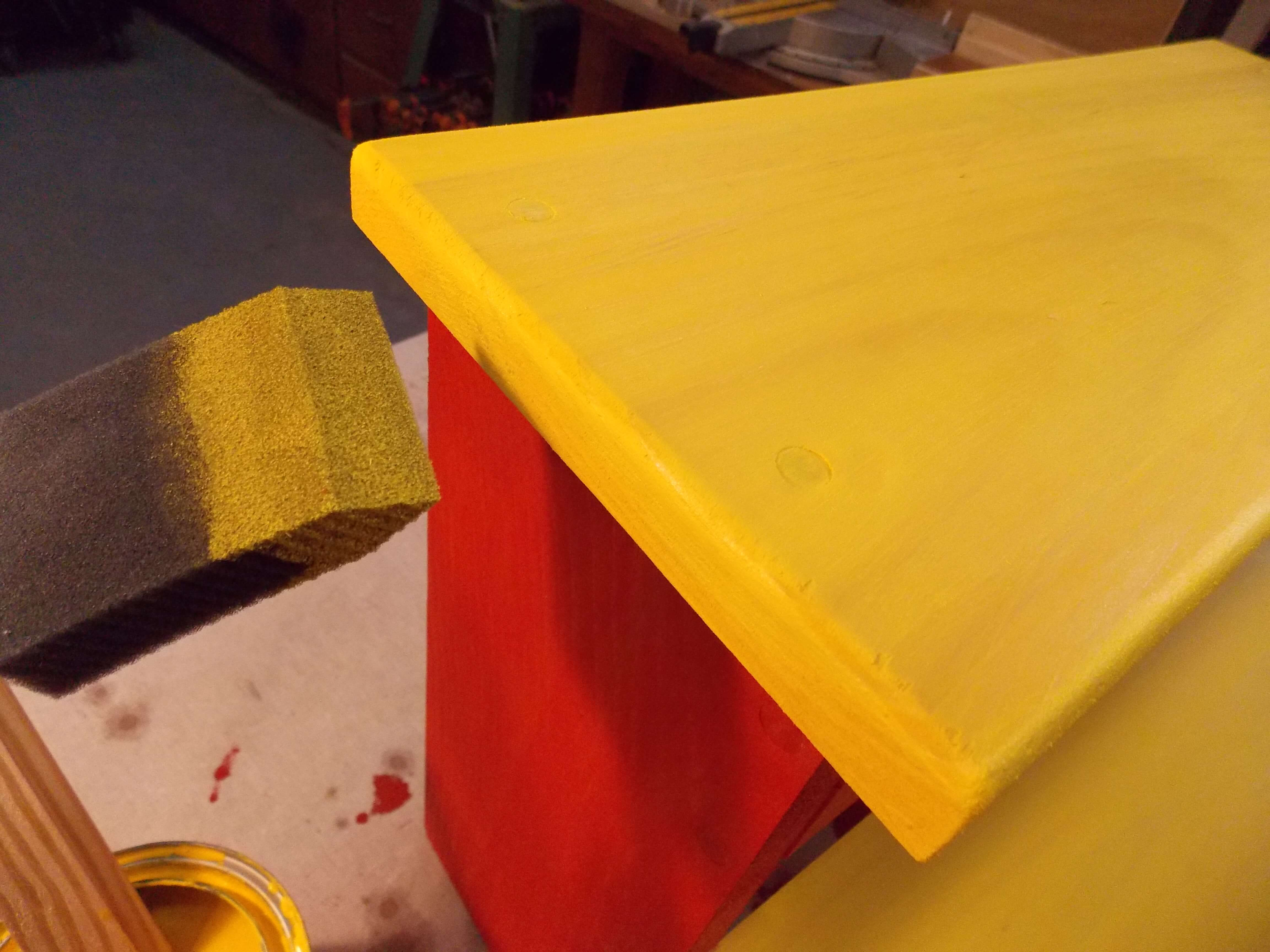 Minwax Water Based Wood Stain in Mustard Applied to Step Stool