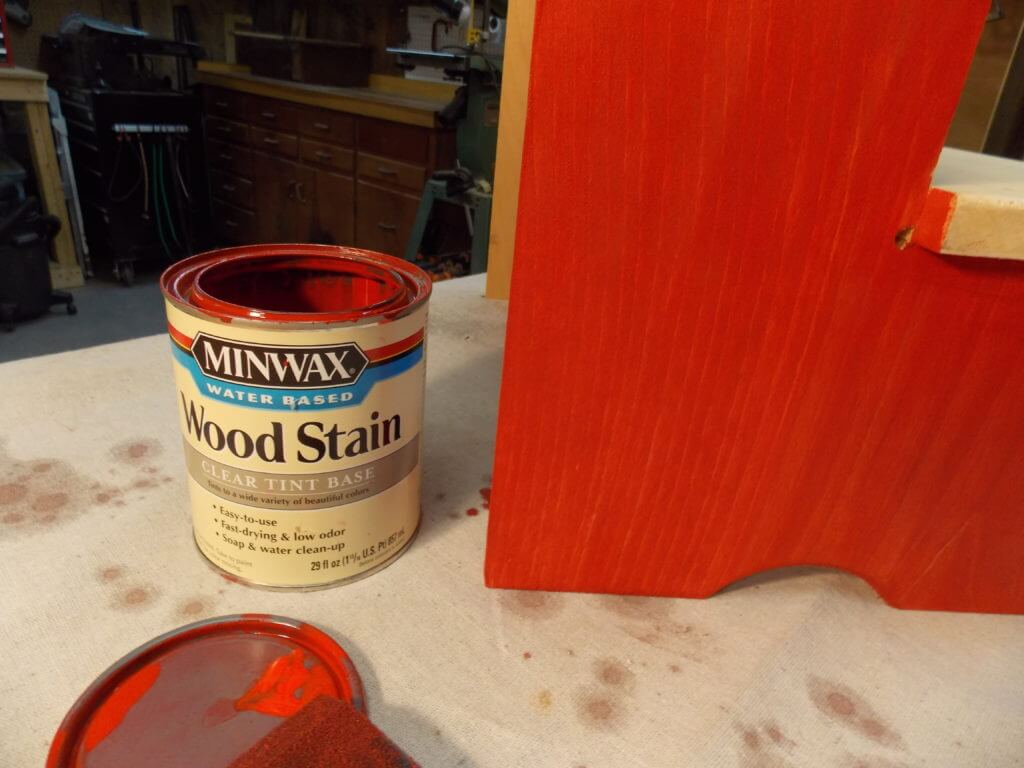 Minwax Water Based Wood Stain in Scarlet Applied to Step Stool