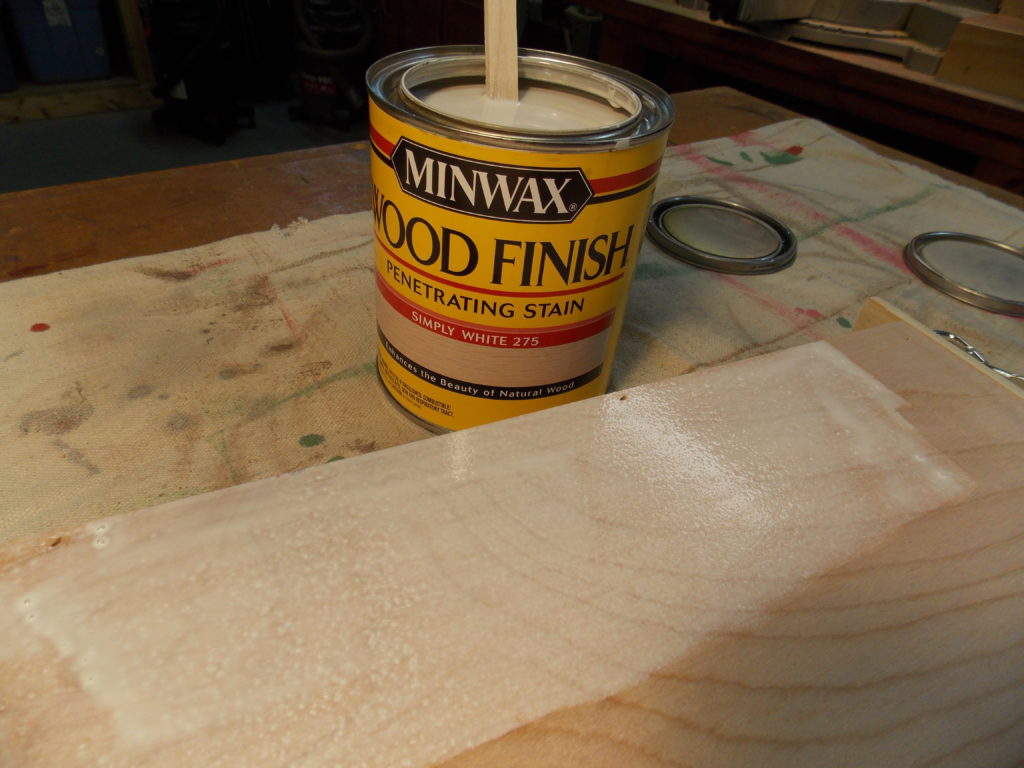 Staining Shelf with Minwax Simply White Wood Finish