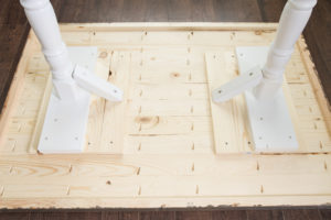 Drilling Pocket Holes to attach Legs to DIY Tabletop