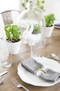 Springtime Tablescape Décor with White Dishware & Fresh Greenery